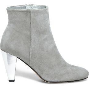 Boots à talon noyce gris cuir velours et argent