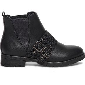Boots noir à bride effet galuchat