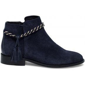 Boots croûte de cuir marine à double cordon