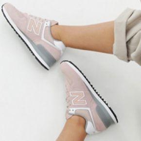 Femme new balance - 574 - baskets en daim rose...