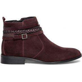 Boots multibrides croûte de cuir bordeaux rouge...
