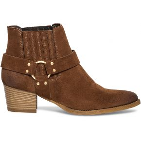 Boots boucle croûte de cuir marron