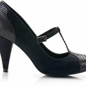 Chaussures salomés bi-matière imitation python...