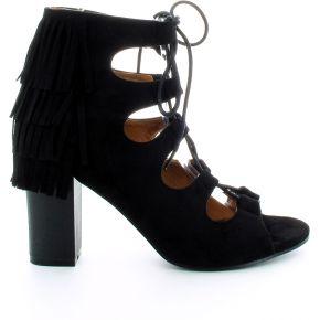 Sandales alize noir franges et lacets