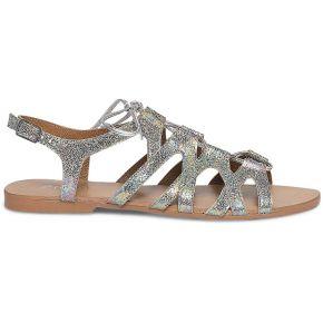 Sandale plate lacet cuir holographique
