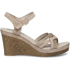 Sandale compensée beige irisée