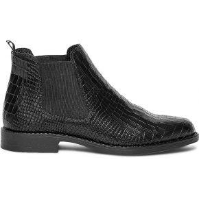 Chelsea boots noir cuir façon croco