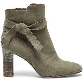 Boots kaki en cuir velours avec nœud côté
