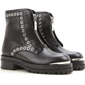 Alexander mcqueen boots femme en cuir veau noir...