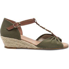 Sandale kaki compensée en toile