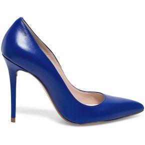 Escarpin stiletto cuir bleu