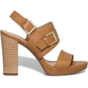 Sandale talon cuir camel