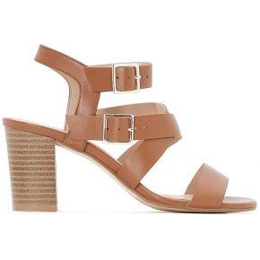 Sandales cuir double boucle feminin marron la...