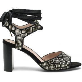 Sandale noire tissée façon imprimé...