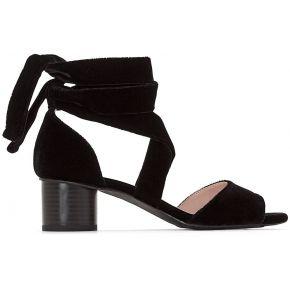 Sandales aspect velours lien cheville feminin...