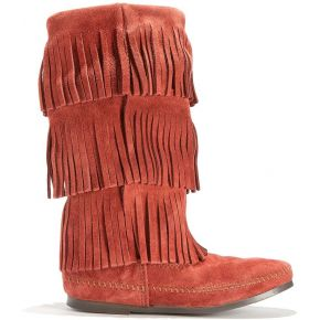 Bottes cuir suédé layer fringe boots feminin...