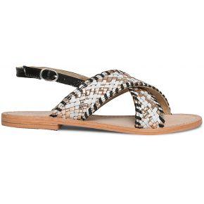 Sandale blanche, noire et or en cuir...