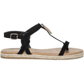 Sandale tong noire à ananas strassé-noir-36,...