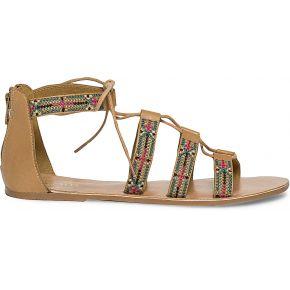 Sandale spartiate en cuir camel...