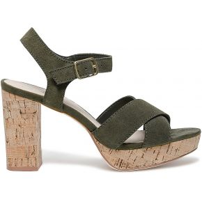 Sandale vert foncé à talon liège kaki eram