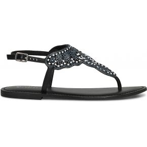 Sandale tong noire à plastron perlé noir eram