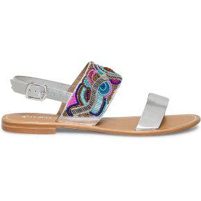 Sandale perlée cuir argenté multicolore eram
