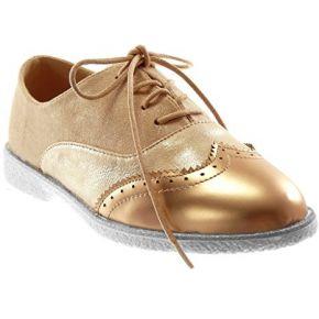 Angkorly chaussure mode richelieu bi-matière...