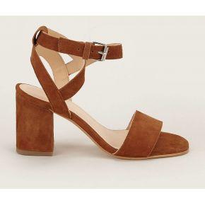 Sandales en cuir suédé defend marron -...