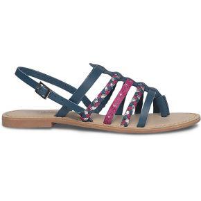 Sandale plate spartiate cuir bleue multicolore...