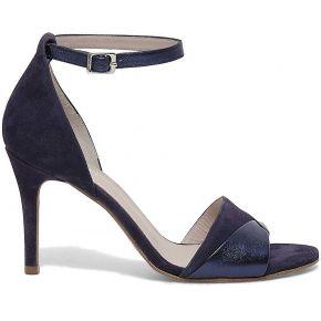 Sandale talon croûte de cuir bleu et argenté...
