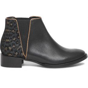 Chelsea boots cuir noir et léopard noir eram