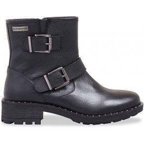 Boots motardes cuir lalie feminin noir les...