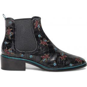 Chelsea boots noyce noir en cuir effet croco...