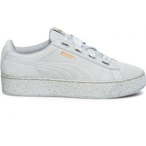 Tennis puma grise en cuir velours blanc puma