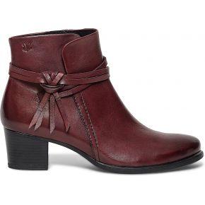 Boots caprice cuir bordeaux à brides rouge...
