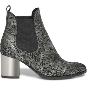 Boots noir cuir imprime python gris imprime eram