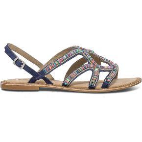 Sandale bleue en cuir à sequins colorées...