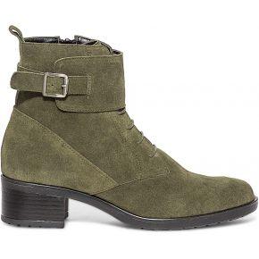 Boots kaki à lacet et boucle