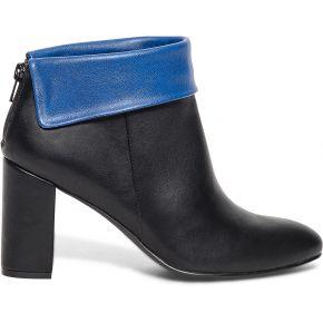 Boots noir à revers bleu