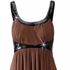 Robe d'été: robe longue (marron) sans manches -...