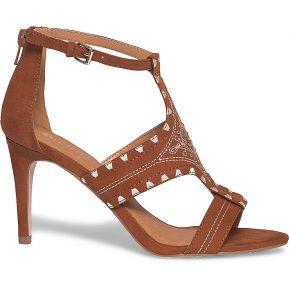Sandale camel brodée à talon