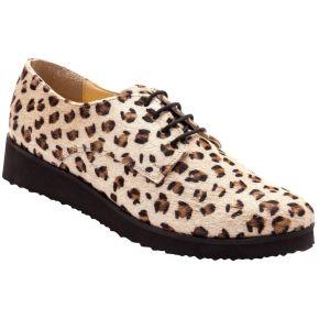Derbies à lacet cuir aspect léopard à...