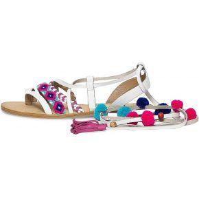 Sandale cuir blanc à pompons