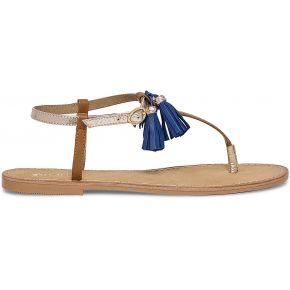 Sandale plate cuir pompons
