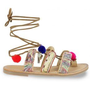 Sandales cuir plates orea - feminin - beige -...