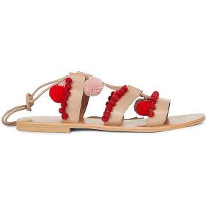 Sandales cuir pompons - monoprix