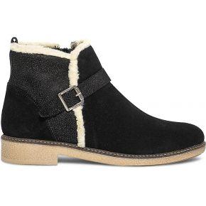 Boots noir en cuir velours bordé fourrure noir...