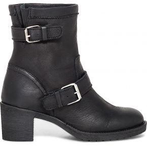 Boots motard noir cuir à talon et double boucle...