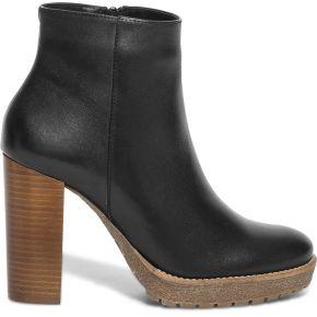 Boots noir fourré en cuir à talon haut noir eram