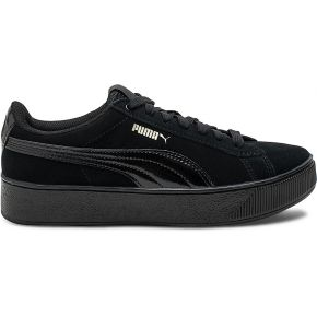 Tennis puma noire en cuir velours noir puma